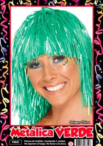 peluca metalizada verde - hoy muy barata la golosineria