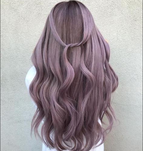 peluca natural cabello pelo largo rizado rosa claro