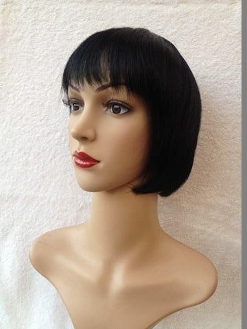 peluca natural melena 30 cms. negra modelo nia domicilio