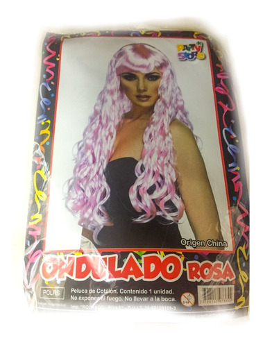 peluca ondulado rosa - fiesta & eventos la golosineria