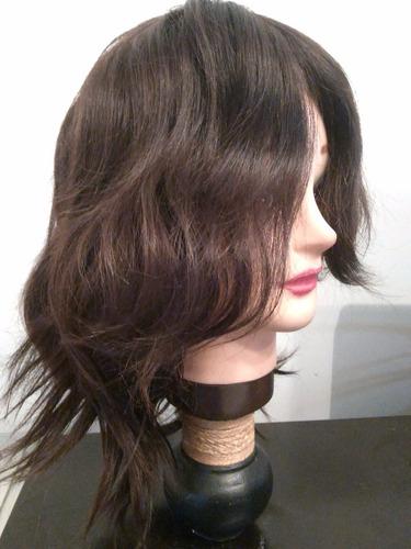 peluca pelo 100% cabello natural largo medio oscura