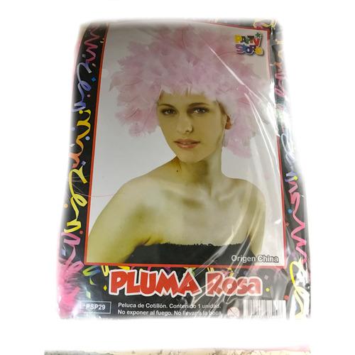 peluca pluma rosa - fiesta & eventos-  la golosineria