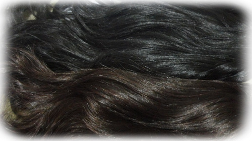 peluca premium tupida ondas desmechado negro simil natural