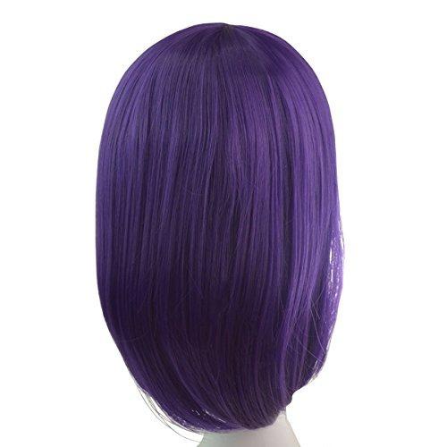 peluca púrpura bob los 36cm cabello corto recto, hmxpls cos