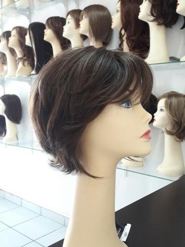 peluca revlon de fibra natural castaño medio