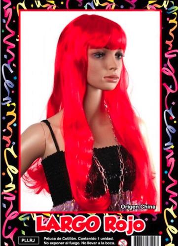 peluca roja larga - fiesta & eventos en la golosineria