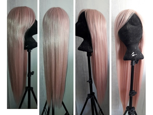 peluca rosada rosa cosplay disfraz anime pelucas