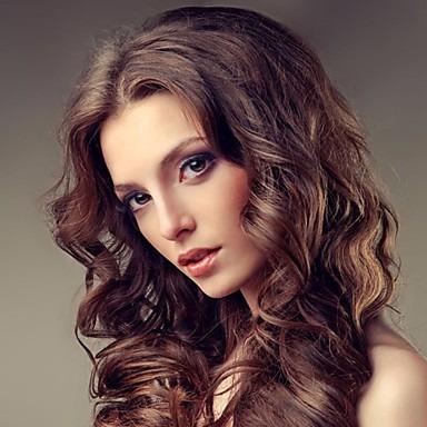 peluca simil natural con bucles rojo raya al medio