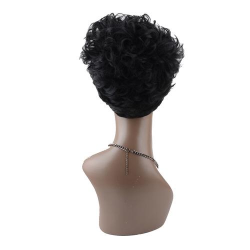 peluca sin tapa sintética rizada corta para mujer