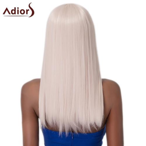 peluca sintética adiors larga c/flequillo completo p/mujer