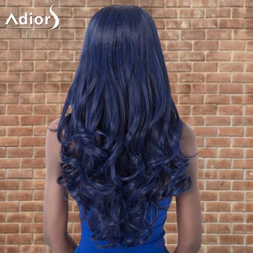 peluca sintética adiors ondulada larga dividida al centro