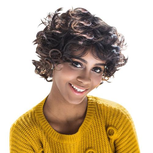 peluca sintética aisihair rizada corta negra/marrón p/mujer