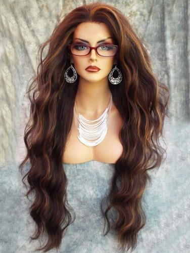 peluca sintético ondulado natural largo mullido