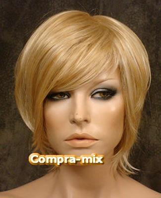 peluca super natural corta color rubio, lbf