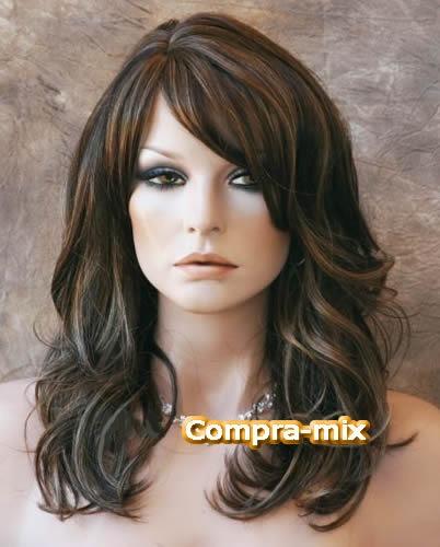 peluca  super natural larga castaño oscuro y luces, pm0