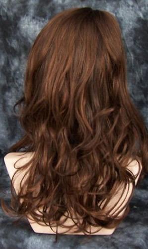 peluca super natural  larga  color castaño cobrizo, lbf