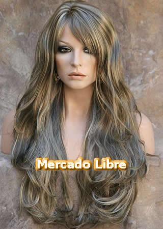 peluca super natural larga color castaño platinado
