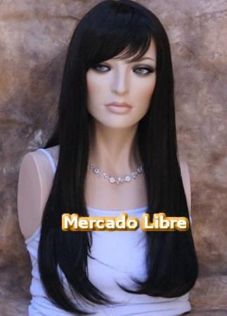 peluca super natural larga color negro