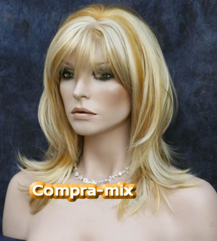peluca super natural larga color rubia, hwo