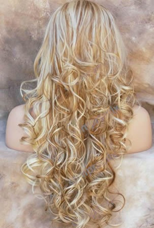 peluca super natural  larga color rubio rizado, daa