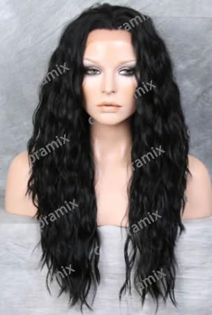 peluca  super natural larga rizada color negro, lbf