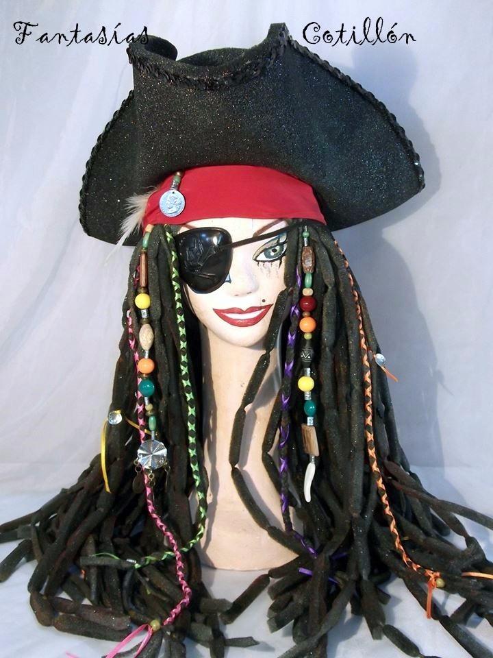 peluca y sombrero en goma espuma de jack sparrow. Cargando zoom. f9f79f27415