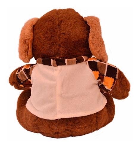 peluche de 38cm marrón con remera ws5106-2 en oferta loi
