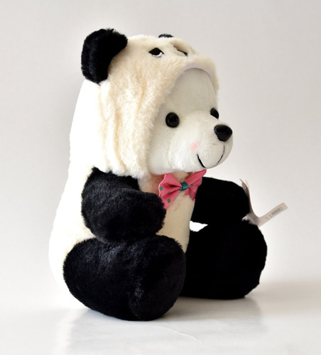peluche de osito polar con disfraz de oso panda 25cm