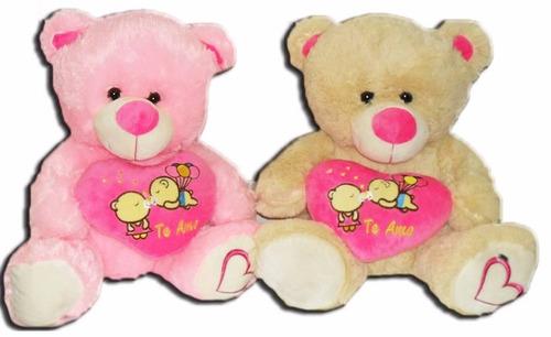 peluche de oso con corazón 40cm para regalar para cumpleaños