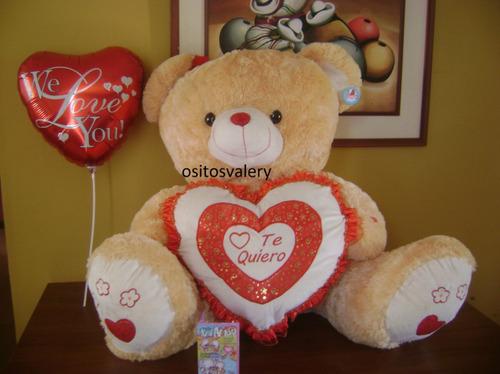peluche gigante oso  corazon +globo envio gratis a domciilio