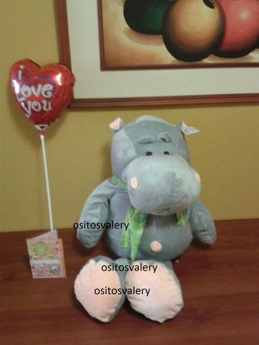 peluche hipopótamo con chalina gris grande nici