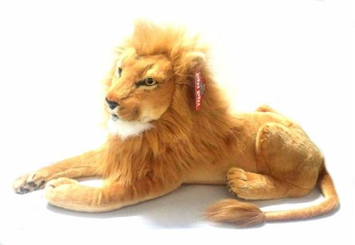 peluche leon apariencia real 60 cm - jugueteria aplausos