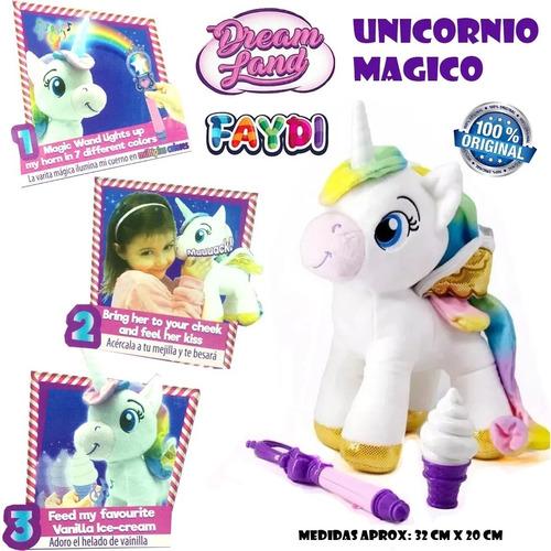 peluche mi unicornio mágico dream land con luz educando