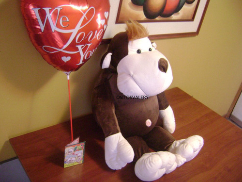 peluche mono grande marron+globo envio gratis a domicilio