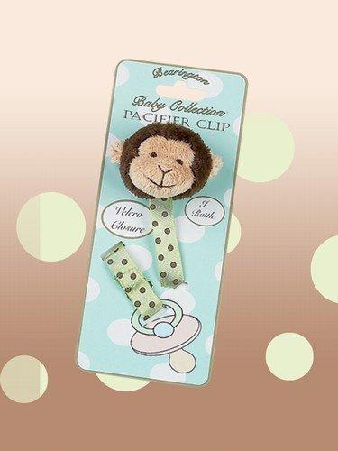 peluche mono pacifier clip - giggles bearington