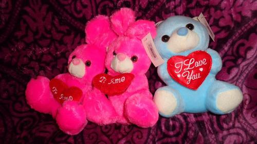peluche muñeco osos y conejos en caja te amo