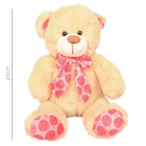 peluche oso con moño y patas al tono 24cm (2778)