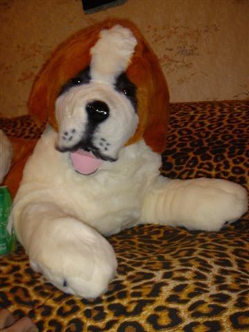 peluche replica perro san bernardo acostado mide 90cm.