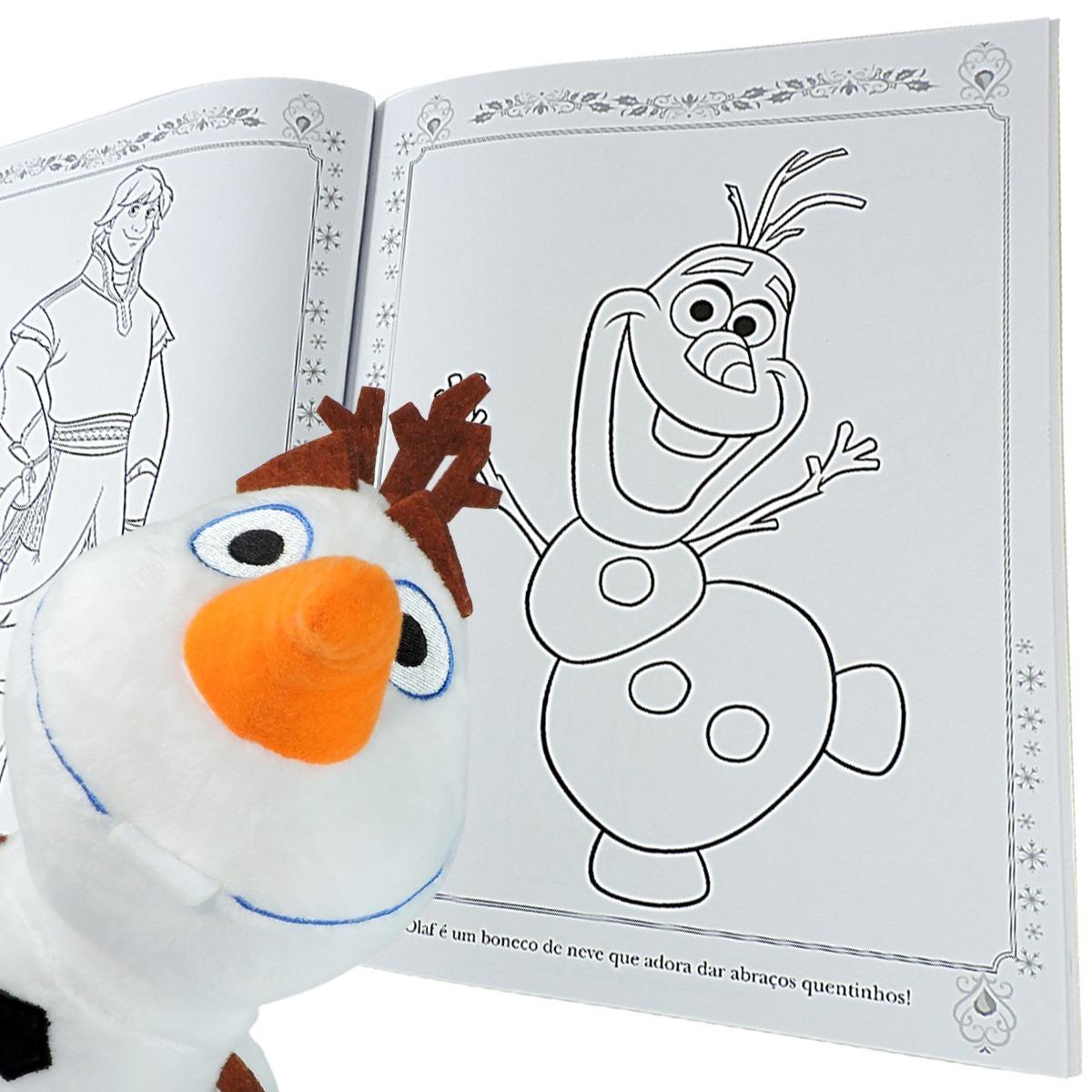 Pelucia Olaf Mais Livro Para Colorir Frozen Com Giz De Cera R