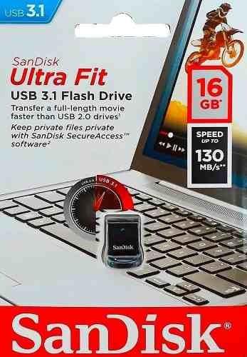 pen drive 16gb sandisk ultra fit usb 3.1 130mb/s nano flash.