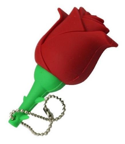 pen drive 8gb - personalizado flor rosa vermelha raridade