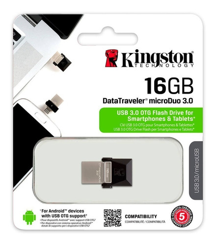 pen drive duo 16gb kingston micro usb tablet celular otg