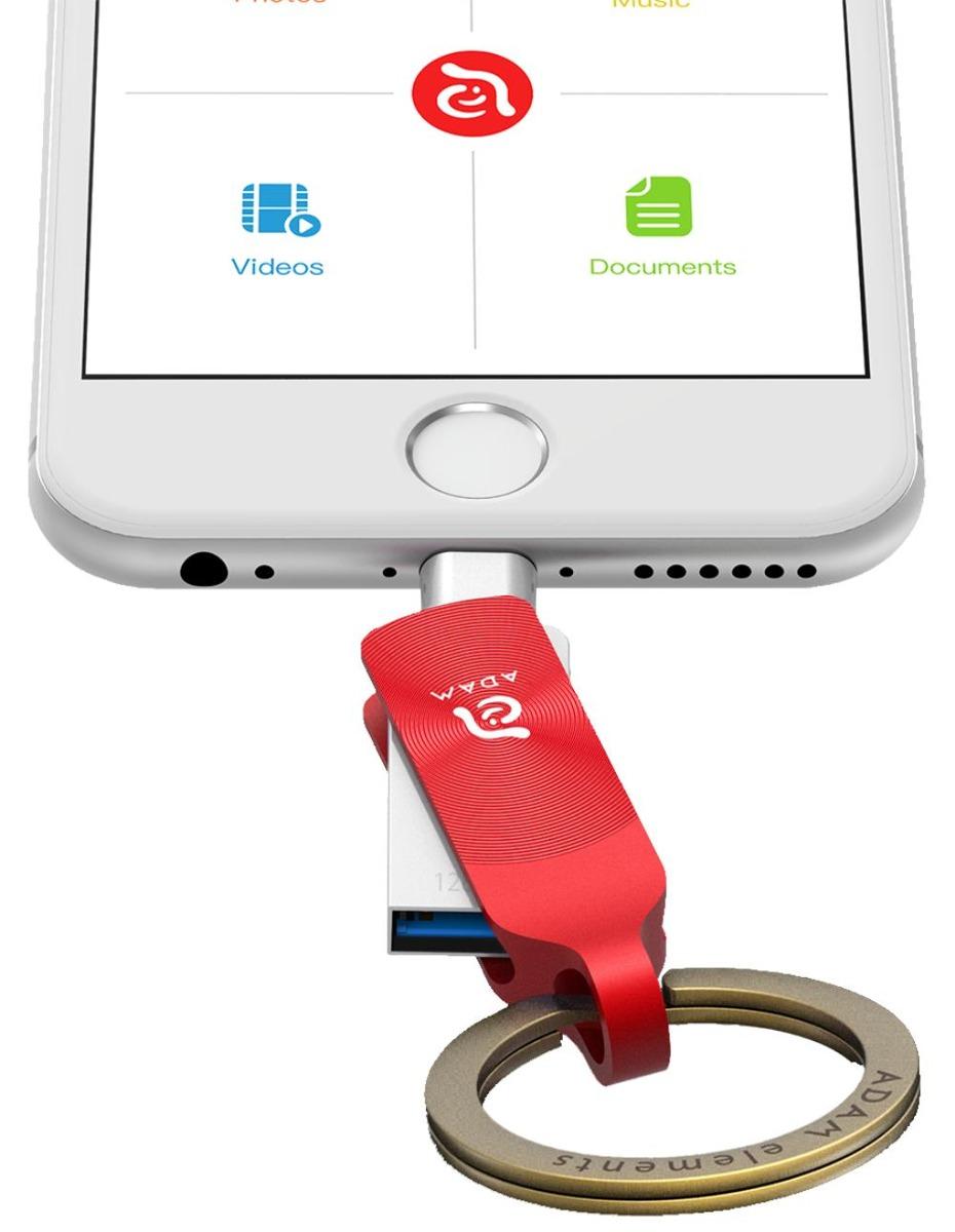 Pen Drive Elements Adam Iklips Duo 128gb Vermelho Para Iphon R Element Apple Lightning Flash Red Carregando Zoom