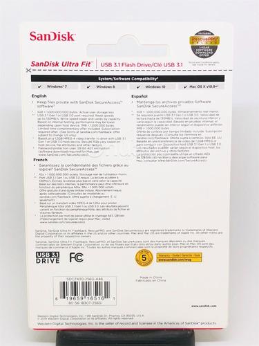 pen drive sandisk 256gb ultra fit usb 3.1 - sdcz430 original