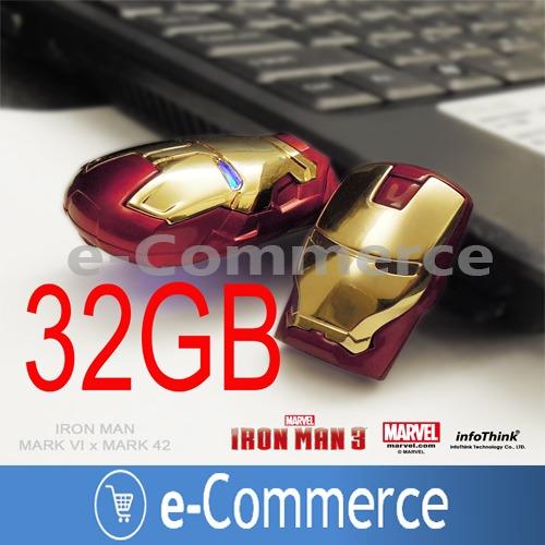 pen driver iron man usb 32gb led ojos flash memory play ps4