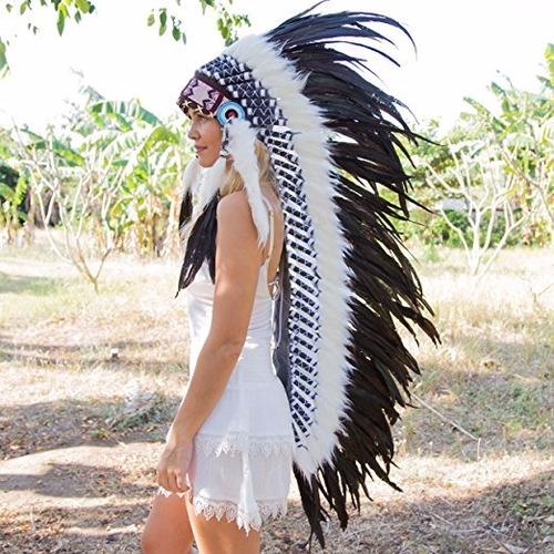 penacho indigena apache indio adultos 15 blanco con negro
