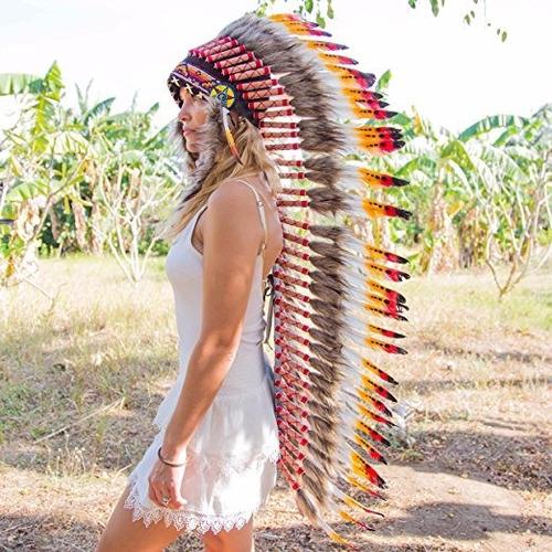 penacho indigena apache indio adultos 19 envio gratis