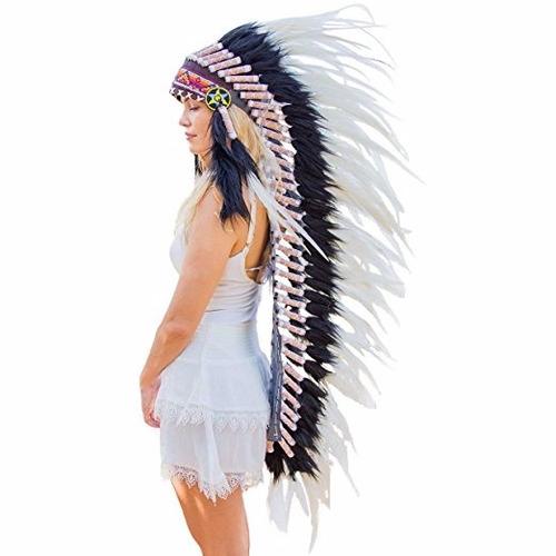 penacho indigena apache indio adultos 21 blanco con negro