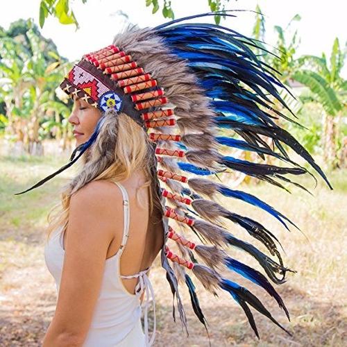 penacho indigena apache indio adultos 24 azul envio gratis