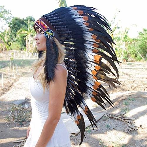 penacho indigena apache indio adultos 26 cafe envio gratis